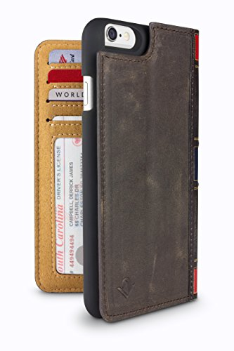 Twelve South BookBook for iPhone 6/6s, brown | 3-in-1 leather wallet case, display stand and removable shell