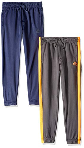 RBX Boys' Little 2 Pack Tricot Jogger, Grey Orange/Navy Solid, 5/6