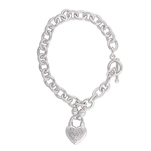 1/4 Cttw Diamond Heart Link Charm - Diamond Heart Charm