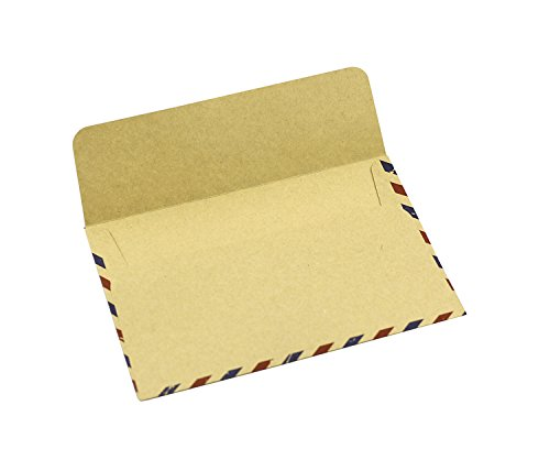 BeeChamp 50pcs Open End Vintage Invitation Envelopes Airmail Stationery (Brown) Photo #4