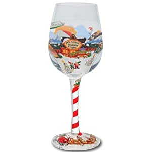 Lolita hand painted wine glass north pole for Hand painted wine glass christmas designs