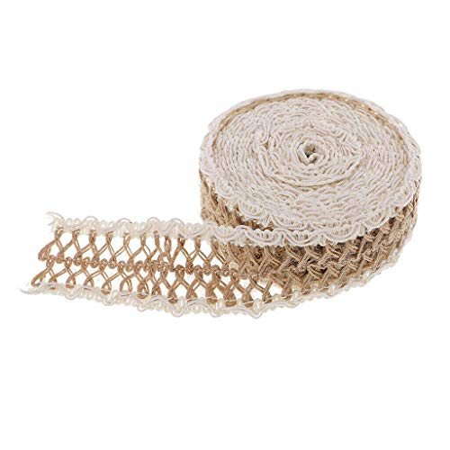 5M Natural Burlap Jute Twine Cord Lace Edge Ribbon Rustic Wedding Decoration