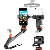 Spivo 360 + Flip Phone Mount Bundle for Everyday Adventurers with Bluetooth Remote. Swivel Selfie Stick for iPhones and Android