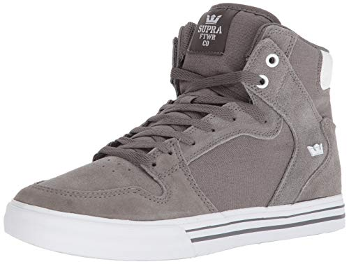 Supra Vaider Skate Shoe, Charcoal/White, 10 Regular US