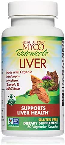 Host Defense - MycoBotanicals Liver Mushrooms and Herb Capsules, Supports Liver Health and Detoxification, with Turkey Tails, Milk Thistle, and Turmeric, Non-GMO, Vegan, Organic, 60 Count