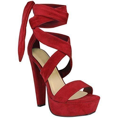 Femmes Cravate Bottines Cheville Lacet Talon Haut Bloque Semelle Compensée Fête Ouvert Chaussures Pointure Rouge Daim Synthétique