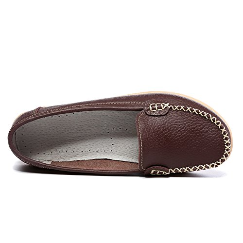 SCIEN Frauen Casual Loafers Echtes Leder Driving Mokassins Slip-On Flache Schuhe Braun