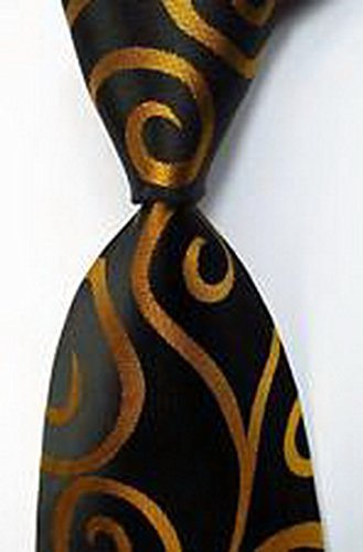 [MINDoNG Daily Paisley Gold Black JACQUARD WOVEN Silk Men's Tie Necktie GAG # 33126] (James Bond Womens Costumes)