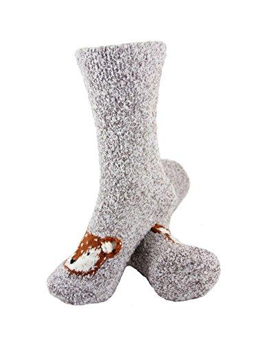 (Super Soft Warm Cute Animal Non-Slip Fuzzy Fluffy Crew Winter Home Socks, Grey Fox - 3 Pairs)
