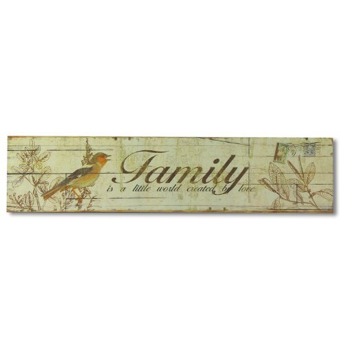 (Adeco SP0136 Decorative Wood Wall Hanging Sign Plaque ''Family'' Bird and Leaf Detail Light Green, Yellow Home Decor)
