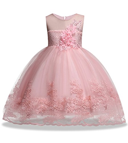Pink Dress for Girl Ball Gown for Wedding Formal Size 7/8 Lace Flower Girl Dresses for Girls Size 3 4 Special Occasion 2-3 Years Princess Party Toddler Birthday Pageant Dress (Pink 130)