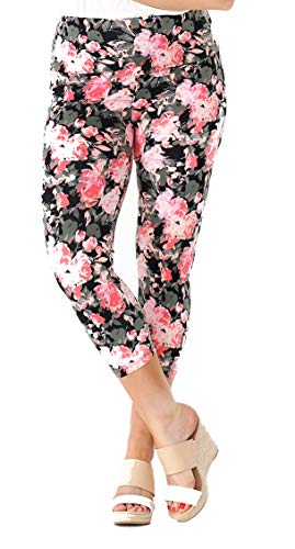 INTRO. Tummy Control High Waist Pull-On Printed Capri Cotton \ Spandex Legging Coral Lily Floral - Medium