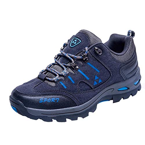 UOKNICE Men and Women Couple Outdoor Casual Lace-up Comfortable Running Mountaineering Shoes(Dark Blue, CN 42(US 8.5))