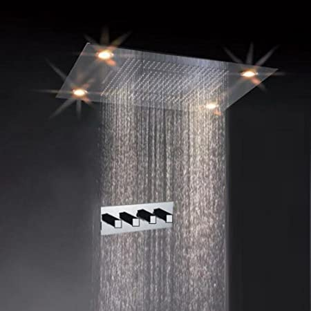 Classic Design 31 Inch Large Rain Shower Set Double Waterfall Shower Super  LED Shower Heads Faucet