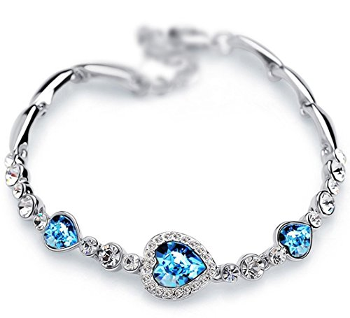 The Starry Night Heart of Ocean Diamond Accented Romantic Silver Link Bracelet (Lobster Clasp,18k,sea Blue)
