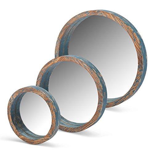 Cheap Lone Elm 94148 Blue Wood Round Mirrors (Set of 3), 22″ x 18.5″ x 2″