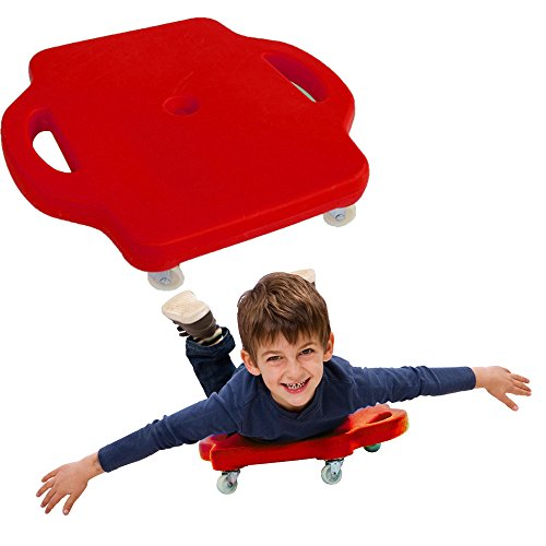 Toy Cubby Square Scooter Board with Safety Hand Guards - Red - Heavy Duty Plastic - Physical Education Class or Home Usage. ()