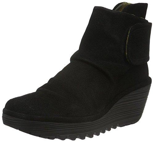 Fly london Yegi Noir Femmes Daim Cale Cheville Chaussures Bottes