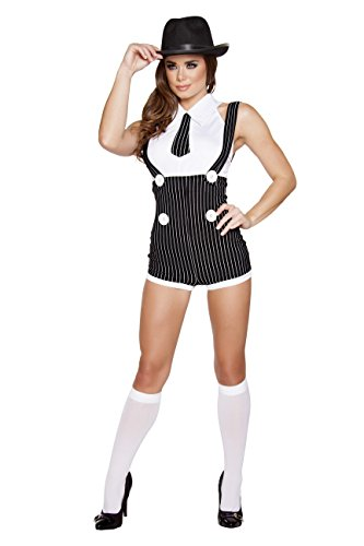 2 Piece Gangster Mob Wife Pinstripe Suspender Romper & Top Party Costume Black/White -