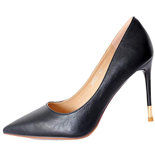 10cm shoes women's thin pointed high super heel shoes thin shallow Sexy Black slim LBTSQ shoes wOpxq8Xf