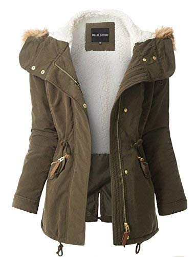 OLLIE ARNES Women's Quilted or Inner Fur Lined Sherpa Anorak Down Parka Jacket 103_Olive S