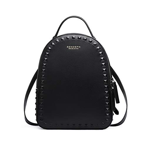 Para Elegante Remache Bandolera Cuero Y De Haxibkena Elementos Damas Mini Black Simple Bolso Black color xHqPq8wI