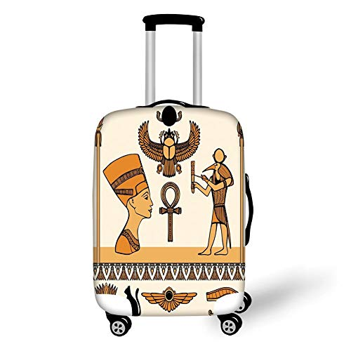 (Travel Luggage Cover Suitcase Protector,Egyptian,Historical Ancient Symbols Set with Nefertiti Profile Antique Artwork,Ivory Marigold Black,for TravelS 19x27.5Inch)