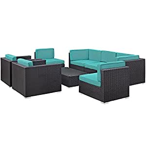 LexMod 8 Piece Convene 2 Armchair Outdoor Patio Sectional Set, Espresso Turquoise