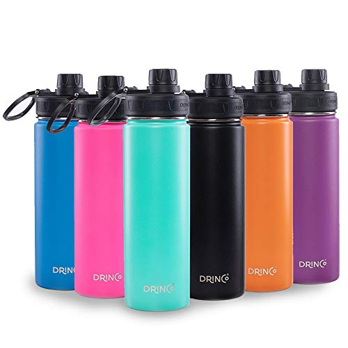 Drinco - Stainless Steel Water Bottle   Double Wall Vacuum Insulated   With Wide Mouth Spout Lid Leak Proof   Aqua   18/8 Grade, 20, 30 oz (Stainless Steel Water Bottle With Stainless Steel Cap)