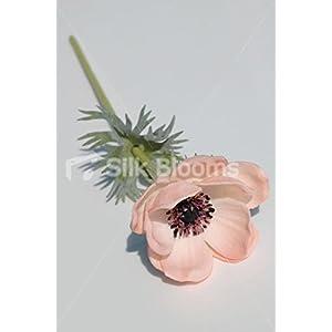 Single Artificial Fresh Touch Peach Anemone, Silk Peach Poppy 5