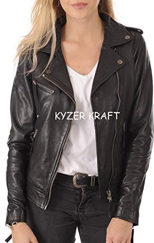 Black Genuine Leather Bomber Jacket - Womens Leather Jacket Bomber Motorcycle Biker Real Lambskin Leather Jacket for Womens