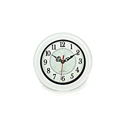 Perfect Shell White Pearl Water Resistant Clock, Quartz Movement, Simple Modern Design, 6.5 in Diameter, Plastic Frame, Flexible options to hang or to stand.