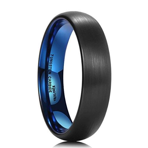 Stylish Two Tone Wedding Band (King Will DUO 5mm Blue Black Dome Tungsten Carbide Ring Wedding Band High Polished Brushed(9))
