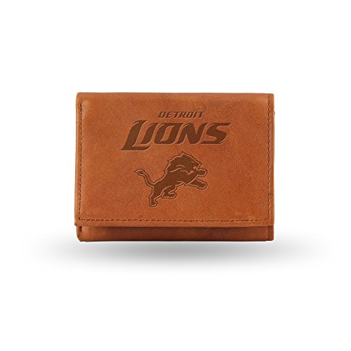NFL Detroit Lions Embossed Genuine Cowhide Leather Trifold Leather Wallet Lions Tri Fold