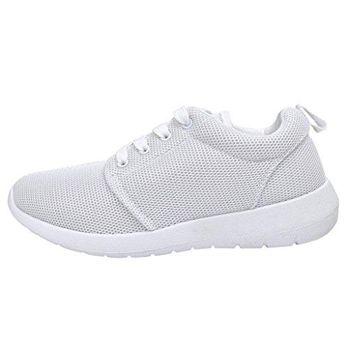 Anself Damen Laufschuhe Sportschuhe Schnüren Sneakers Weiß Größe 39