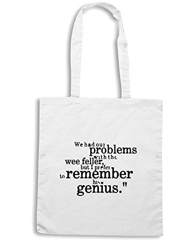 T-Shirtshock - Bolsa para la compra WC1073 sir-matt-busby-best-genius-quote-tshirt design Blanco