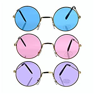 Bottles N Bags Set of 3 ! Round Retro Hippie Fashion John Lennon Style Rimless Sunglasses Includes Blue, Purple & Rose (Great Cruise Accessory) By