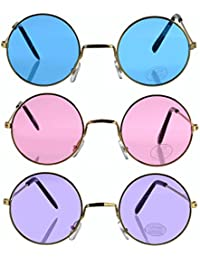 Set of 3 ! Round Retro Hippie Fashion John Lennon Style Rimless Sunglasses Includes Blue, Purple & Rose (Great Cruise Accessory) By Bottles N Bags