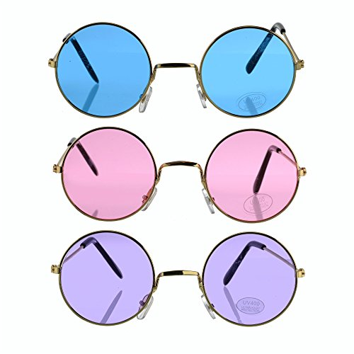Bottles N Bags Set of 3 ! Round Retro Hippie Fashion John Lennon Style Rimless Sunglasses Includes Blue, Purple & Rose (Great Cruise Accessory)