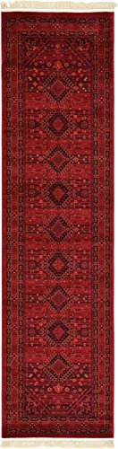 - Unique Loom Tekke Collection Tribal Traditional Torkaman Red Runner Rug (3' x 10')