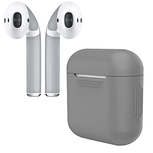 APSkins Silicone Case and Stylish Skins Compatible with Apple AirPod Accessories (Grey Case & Grey Skin)
