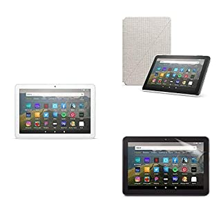 Fire HD 8 Essentials Bundle including Fire HD 8 Tablet (White, 32GB) Ad-Supported, Amazon Standing Case (Sandstone White), and Nupro Clear Screen Protector