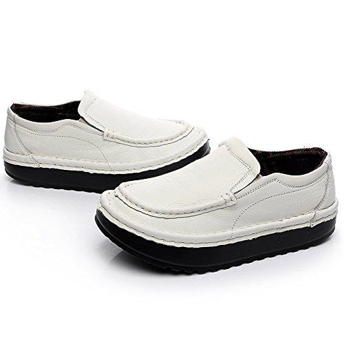 Shenn Mujer Plataforma Ponerse Comodidad Cuero Entrenadores Zapatillas Zapatos 2601 Blanco