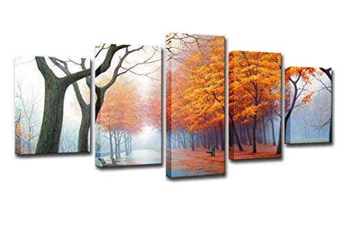 FOLOIN HD Prints Paintings Wall Art Canvas Home Decor 5 Pieces Misty Woods in Autumn Mornings Pictures Yellow Trees Posters