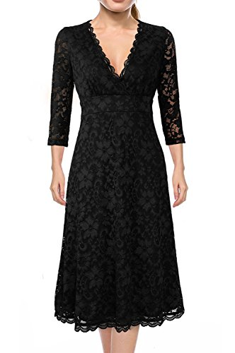 Bridesmaid Dresses Plus Size,Miurus Women's Retro Elbow Sleeve Cocktail One Piece Dress 3XL Black