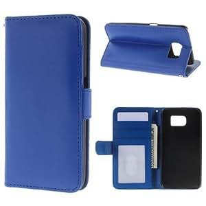 caja del teléfono móvil de la cubierta Caso de Negocio Samsung Galaxy S6 / SM-G920F - SOPORTE DEL LIBRO tirón de la caja de azul