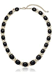 "Napier Twist Again Gold-Tone and Jet Collar Necklace, 16"" + 3"" Extender"