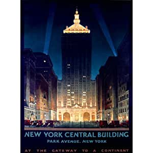 "NY Central Building by Artist Chesley Bonestell 14""x20"" Planked Wood Sign Wall Decor Art"