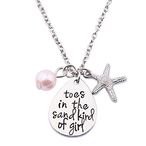 ENSIANTH Toes In The Sand Kind of Girl Engraved Charms Necklace Beach Jewelry with Starfish (waterdrop ()