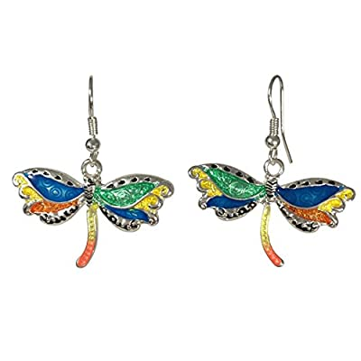 Discount Whimsical Multi Color Painted Animal Silver Tone Dangle Earrings for sale